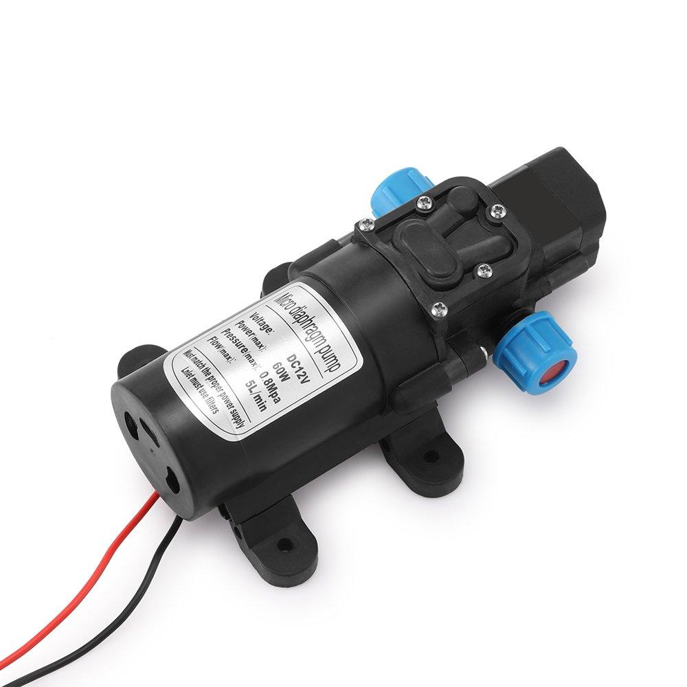 Houkiper Pompa a membrana per pressione dell'acqua, pompa acqua ad alta pressione con pompa a diaframma DC 12V 60W 5L/min