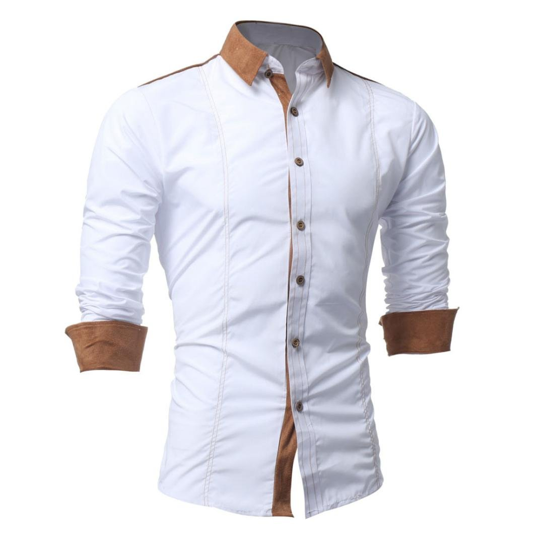 iLXHD Men Shirt Fashion Solid Color Male Casual Long Sleeve Shirt(White ,2XL) by iLXHD (Image #2)