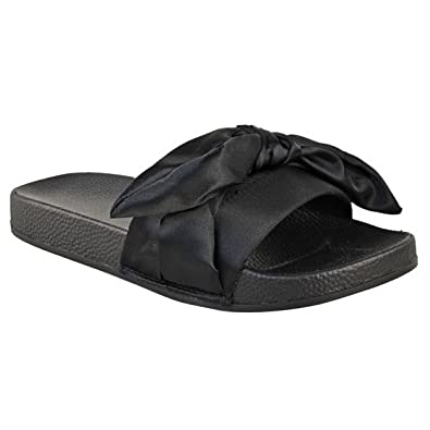 WOMENS LADIES NEW FLAT SUMMER SLIPPER SLIDER COMFY BOW SLIP ON MULES SHOES SIZE