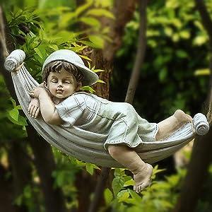 LIUSHI Playful Boy Girl Tree Swing Fairy Ornament Figurine Garden Lawn Sculpture Decor,Boy