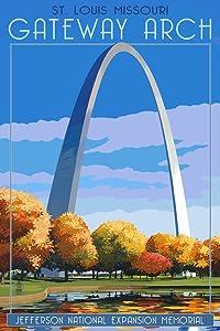 St. Louis, Missouri, Gateway Arch in Fall (12x18 Art Print, Wall Decor Travel Poster)