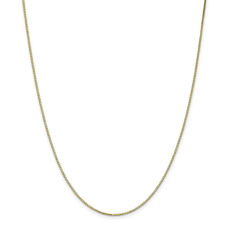 10k Yellow Gold Polished 1.1mm Box Link Chain Bracelet Anklet 9-30