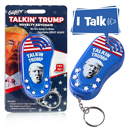 Talking Trump Keychain Funny Gag Sound Machine Toy | 6 Different Sayings in Donald's Real Voice | Classic Quotes in Your Pocket | Sound Effect Political Gift | Batteries -