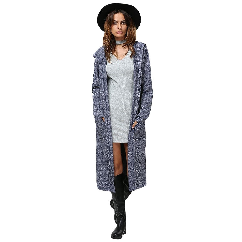 Dezzal Women's Casual Long Sleeve Open Front Hooded Maxi Cardigan ...