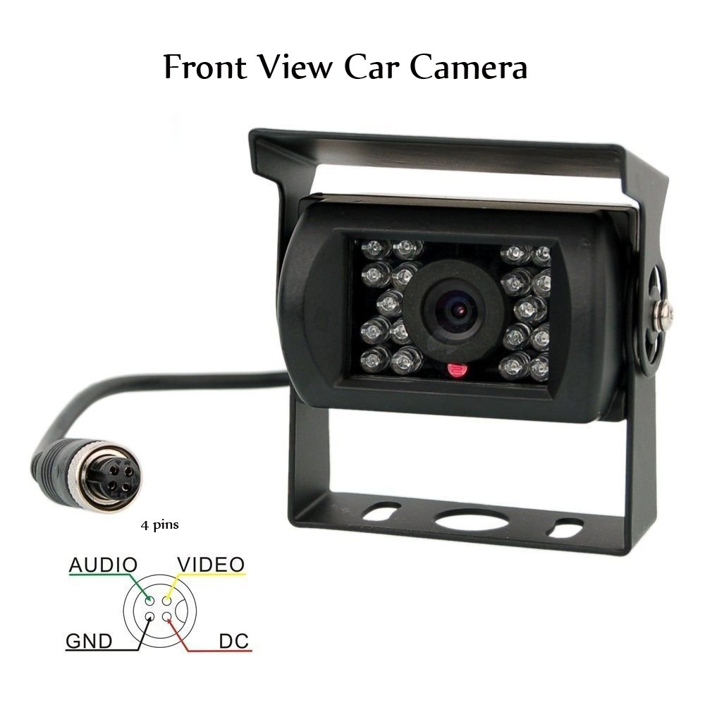 Camecho Car Front View Camera Without Guide Line Support Night Vision Waterproof 4 Pins Connector Plug Cable for Bus RV Truck Trailer Heavy Duty 33 FT Cable