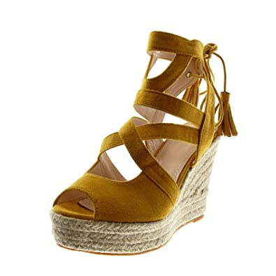 11 Cm Toe Peep Corde Multi Talon Chaussure Bride Plateforme Espadrille Femme Angkorly Compensé Mode Lacets Sandale rBWxoQEdCe