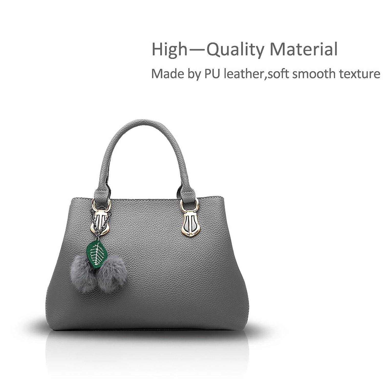 NICOLE&DORIS Women Stylish Handbag Messenger Crossbody Shoulder Purse Tote Work Bag Multi-purpose PU