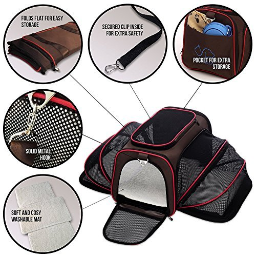 Expandable Pet Cat Carrier for Small Dogs and Cats - Soft Sided Crate - Airline Approved Medium Kennel Travel Bag - Fits Under or on Top of Seat - 2.8 lbs Dog Carriers with Bonus Blanket & Bowl by Petyella (Image #2)