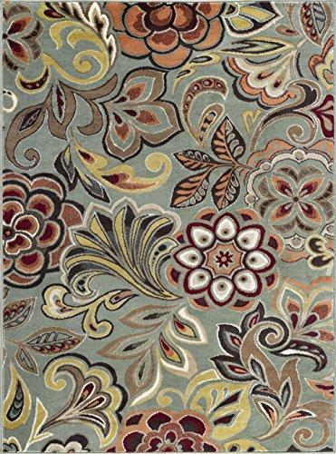 - Dilek Transitional Floral Seafoam Rectangle Area Rug, 8' x 10'