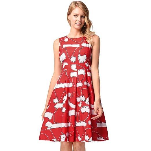 WWHEAT Falda de Vestido Print Chaleco Navidad Vestido Mujer ...