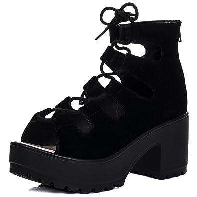 ba65d6eaf26 LACE UP Cleated Sole Block Heel Sandals Pumps Shoes Black Suede Style SZ 5