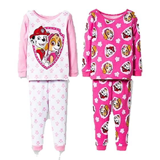 Paw Patrol Toddler Girls Pajamas, 2 pk 4 pc Set Skye and Marshall Shield (