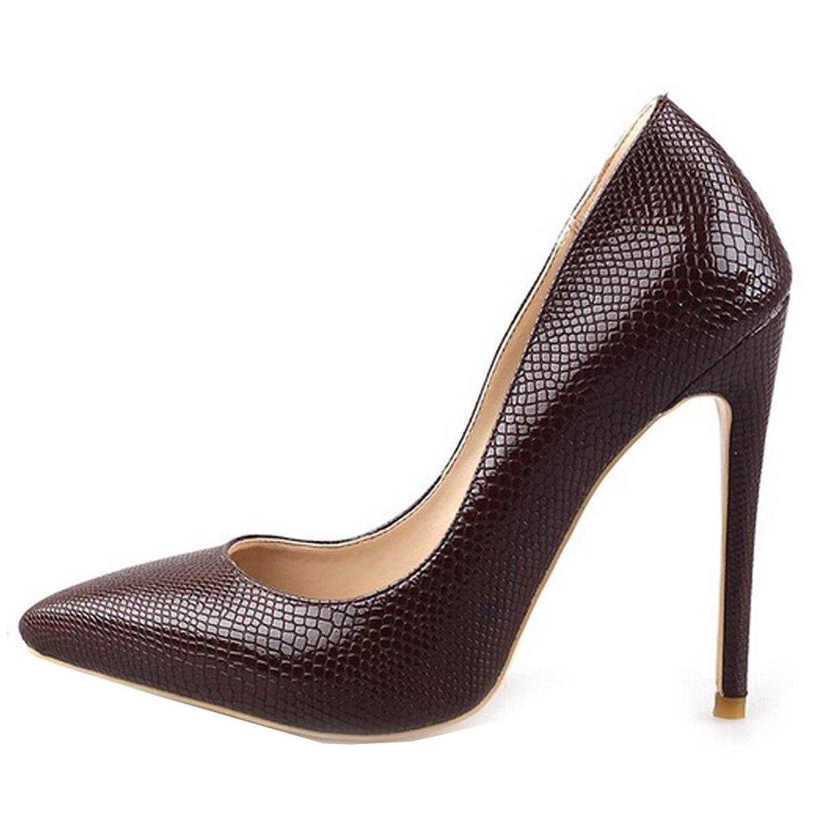 Jushee Damen Sexy Klassische Schwarz Stiletto High Heels Kleid Buuml;ro Pumps43 EU/10 UK/12 US|Braun03
