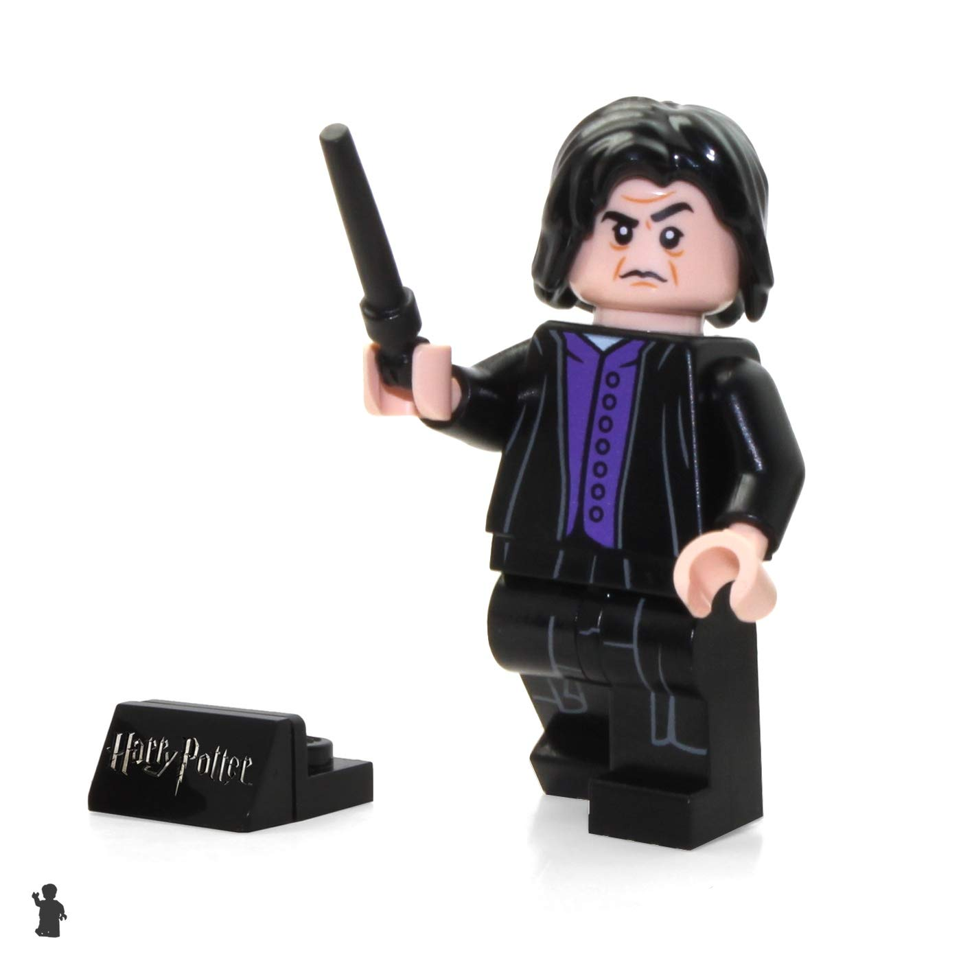 Severus Snape 75956 LEGO 2018 Harry Potter Minifigure with Black Wand and Display Stand