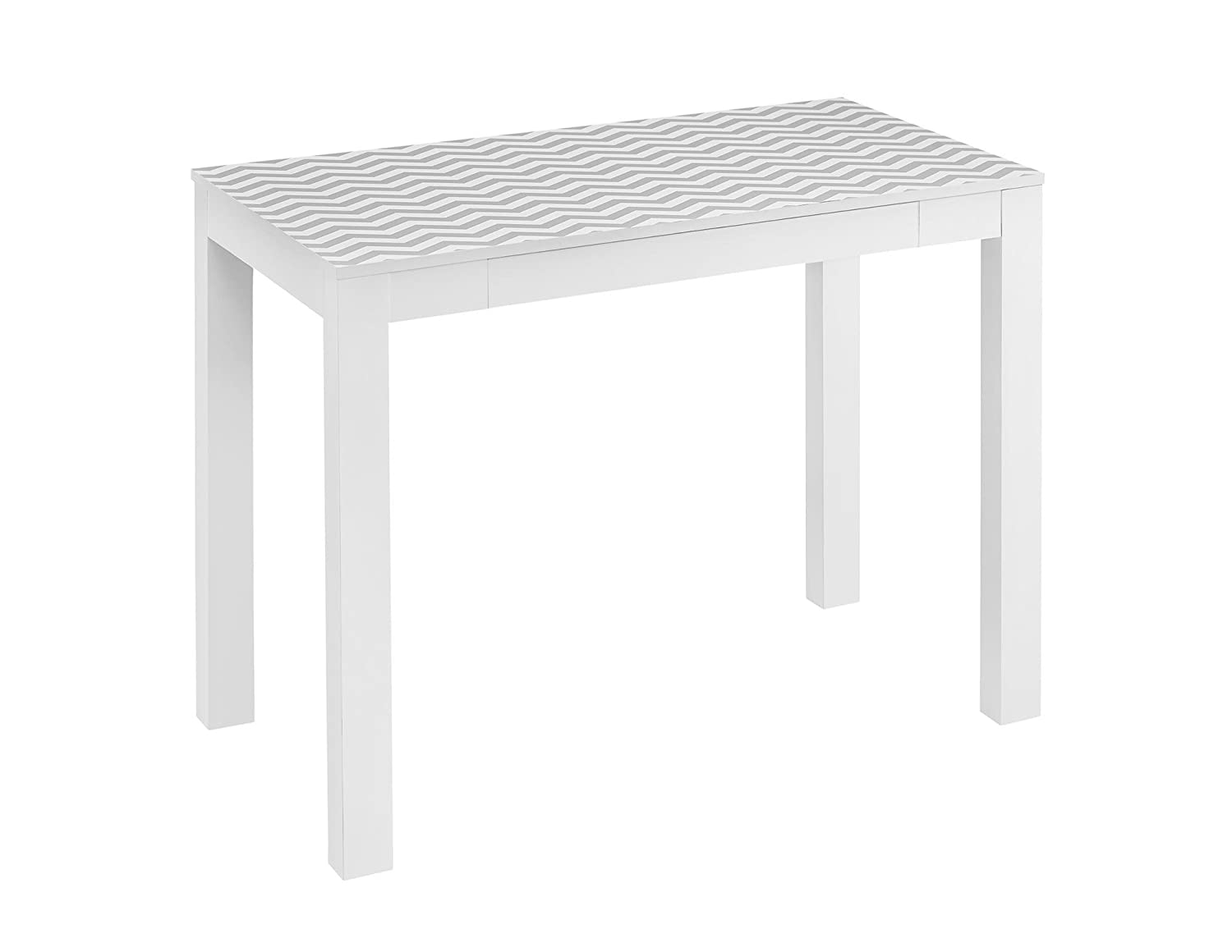 Ameriwood Home Parsons Desk with Drawer, White/Gray Chevron