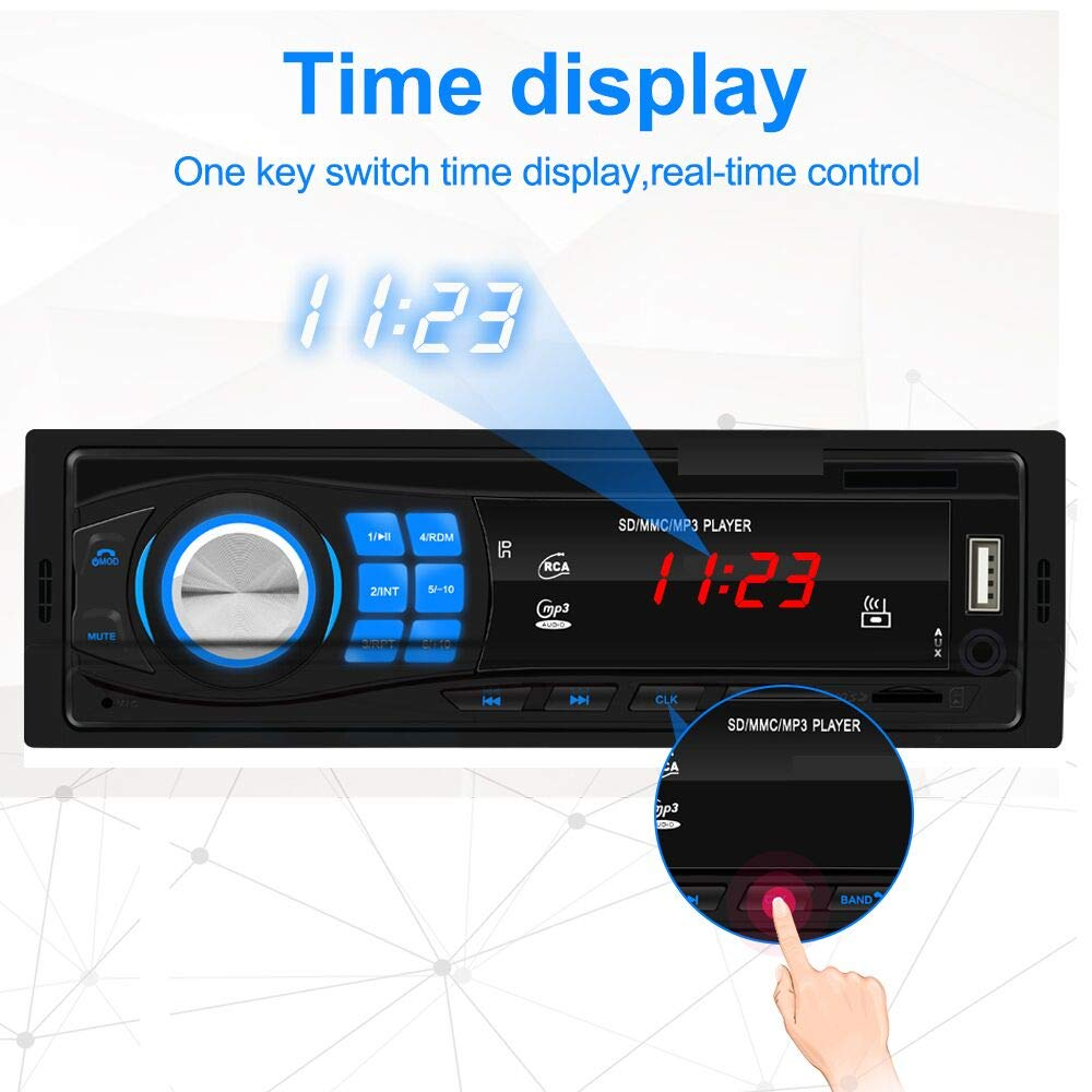 Car FM Media Player Built-in Microphone SD//USB//Aux-in 1 Din Bluetooth Car Radio Receiver Audio and Hands-Free Calling Single Din Car Stereo Remote Control Indash Radio MP3 Player