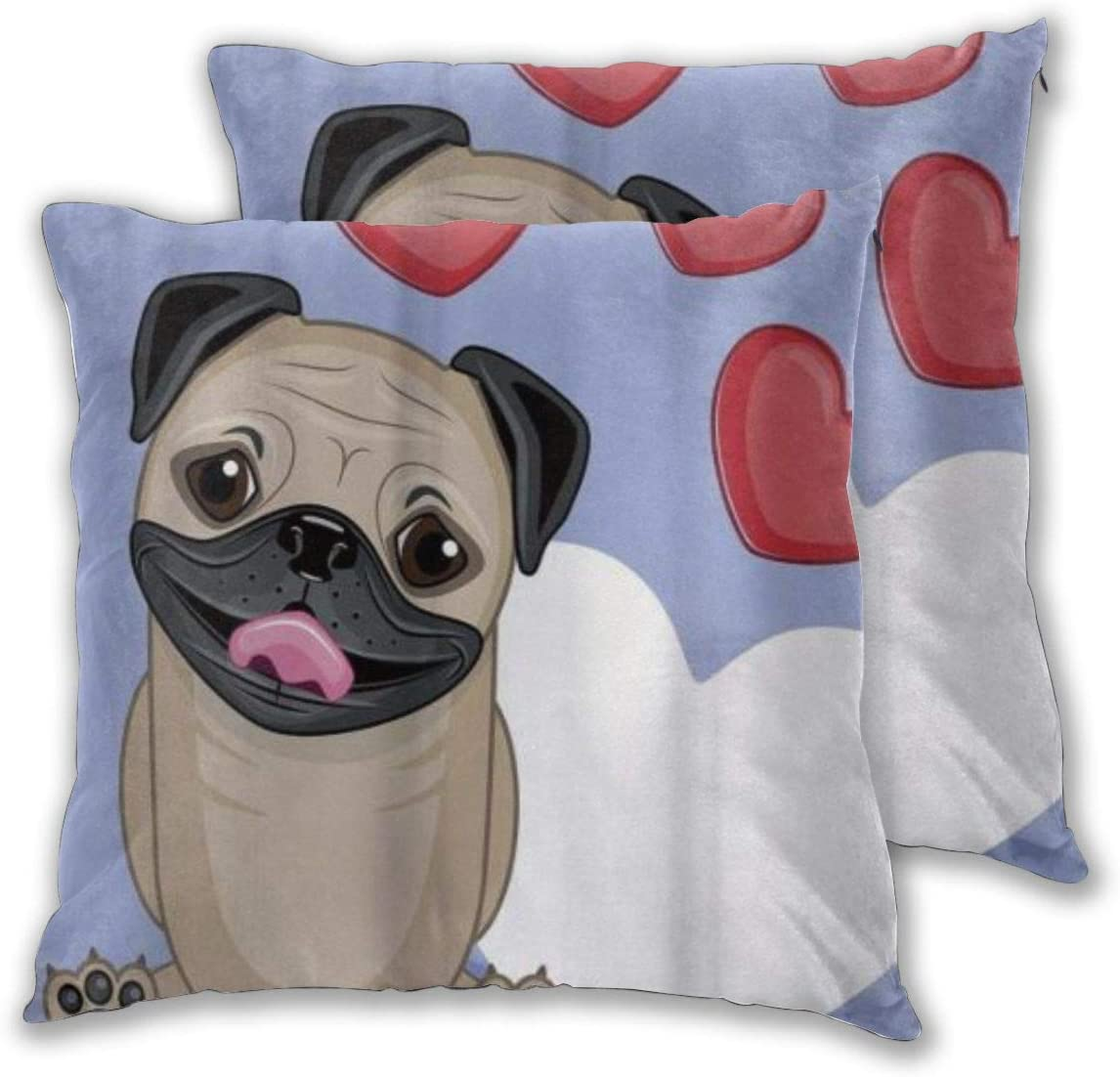 Kasabull Throw Pillow Covers Set Of 2 Pug Happy Cute Dog Licking Its Lips With Three Red And One Big White Heart Love Pillowcase Decorative Cushion Cover Without Pillow 30cm X 30cm