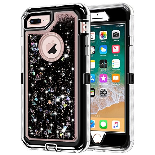 iPhone 8 Plus Case, iPhone 7 Plus Case, Anuck 3 in 1 Hybrid Heavy Duty Defender Case Sparkly Floating Liquid Glitter Protective Hard Shell Shockproof TPU Cover for iPhone 7 Plus/8 Plus - Black
