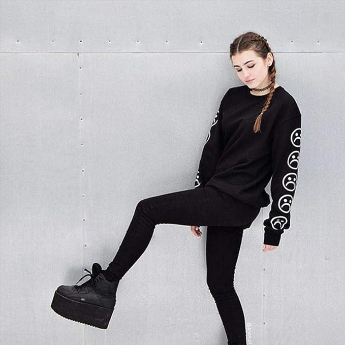 Amazon.com: Women Hoodie Sweatshirt Daoroka Cotton Long Sleeve Sad Faces Emoticon Print Autumn Winter Pullover Blouse Tops: Clothing
