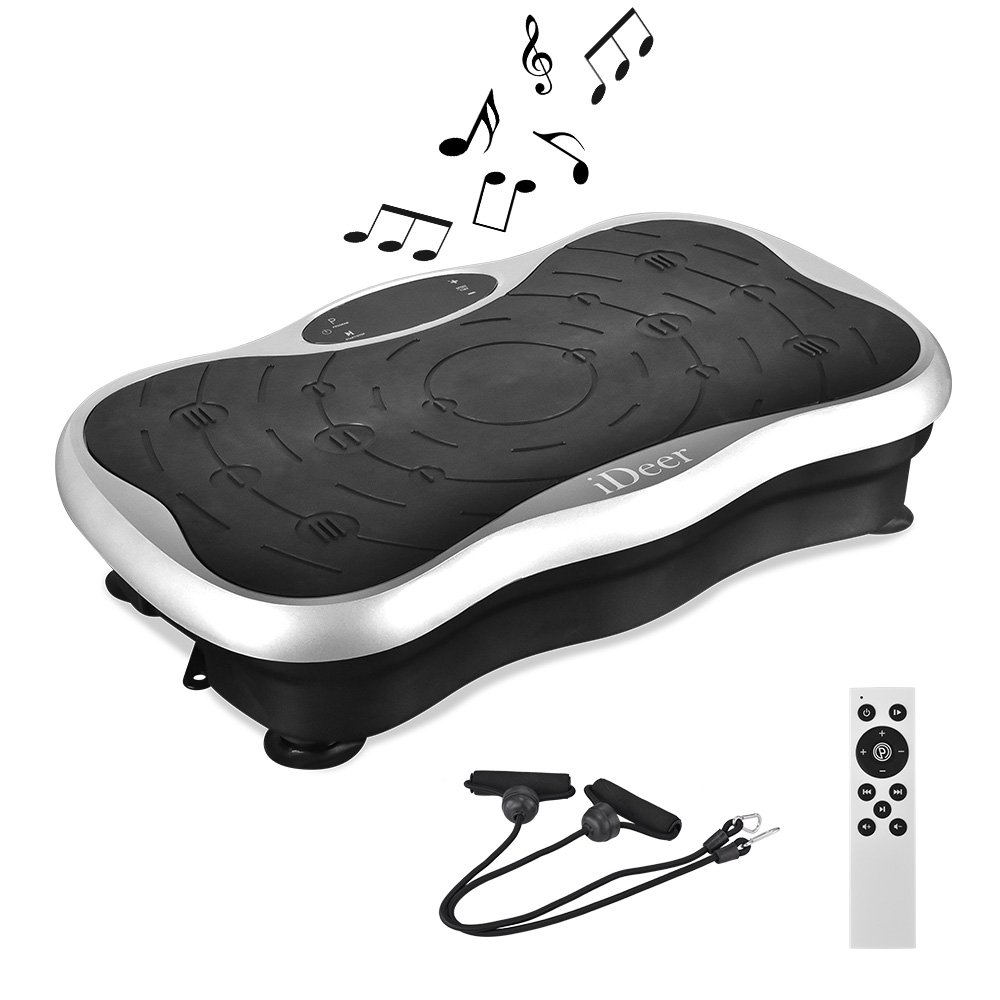 iDeer Vibration Platform Fitness Vibration Plates,Whole Body Vibration Exercise Machine w/Remote Control &Bands,Anti-Slip Fit Massage Workout Vibration Trainer Max User Weight 330lbs (Silver09009)