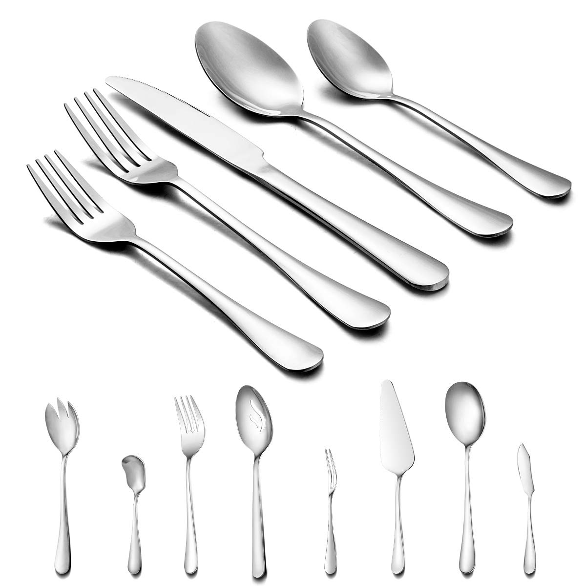68-Piece Silverware Flatware Cutlery Set - Footek Stainless Steel Flatware Set with Knives Forks Spoons for Dinner & Dessert, Elegant, Dishwasher Safe Tableware Sets