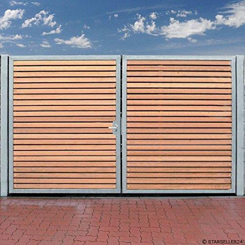 Einfahrtstor 500 x 180cm 2-flügelig Verzinkt + Holz Tor Gartentor Auffahrtstor Doppelflügeltor Holztor inkl Pfosten NEU