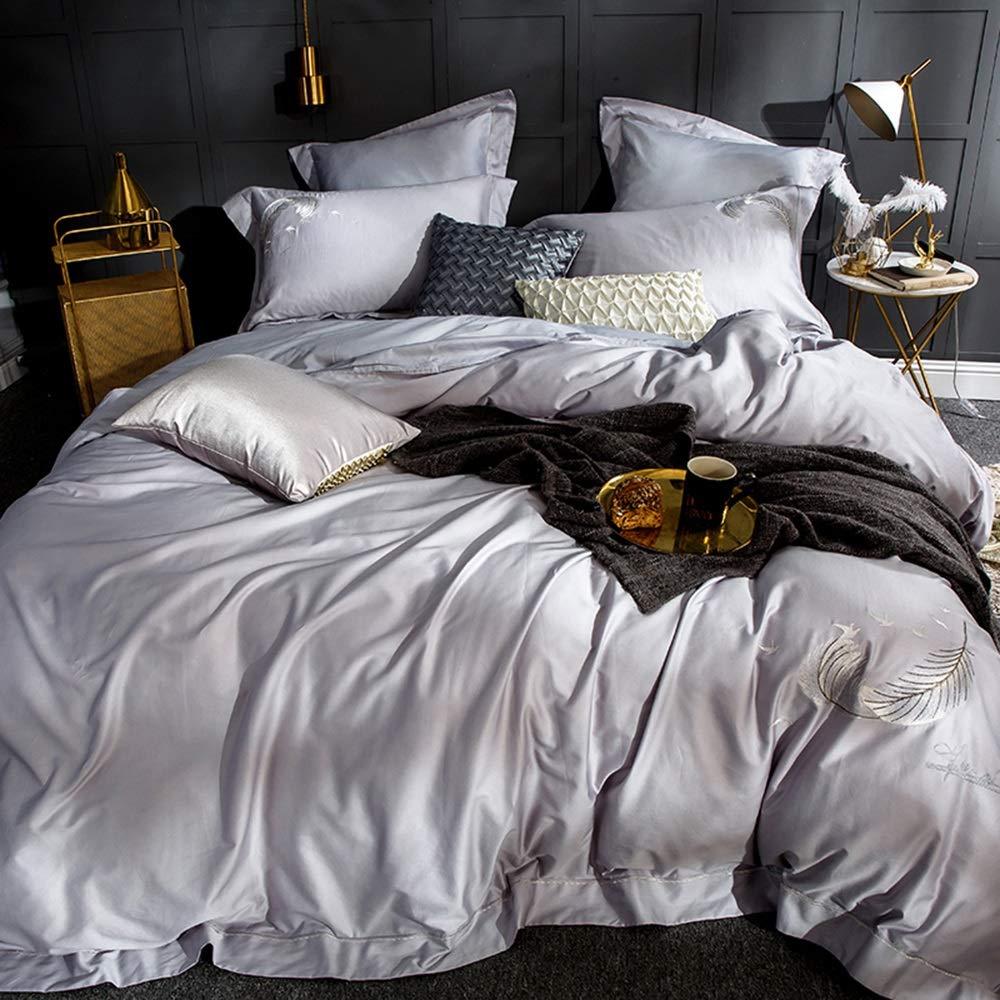 CSYP 綿4ピース刺繍刺繍シンプルなソリッドカラーの寝具ロングステープル綿の綿のシーツ掛け布団カバー枕カバー (Color : Gray) B07Q7FVFYS