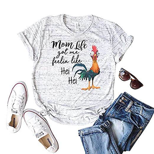2fe7142b Image Unavailable. Image not available for. Color: Yebeau Mom Life got me  Feelin Like HEI HEI Letters Printed Womens Causal Short Sleeve T