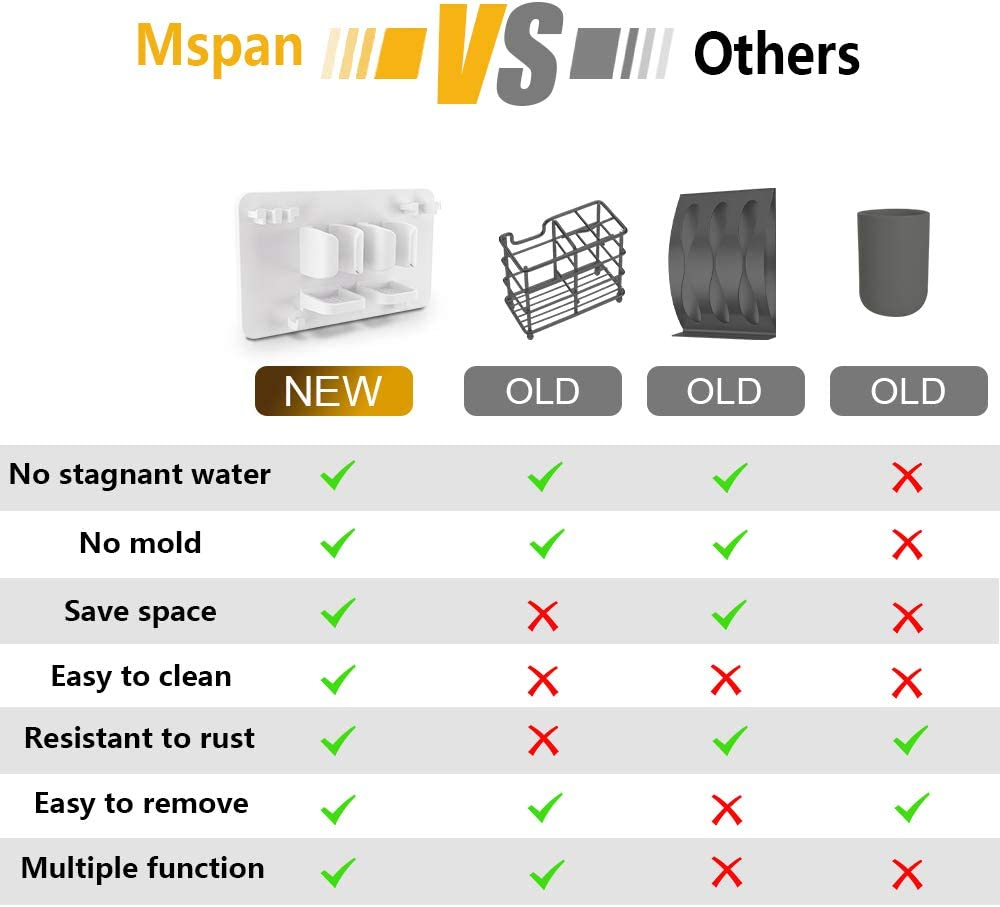 Mspan Toothbrush Razor Holder for Shower: Bathroom Accessories Organizer Wall Mounted Hanging Mount Shelf & Hooks for Loofah | Shaver | Toothpaste | Electric Toothbrush: Kitchen & Dining