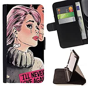 Dragon Case - FOR Apple Iphone 6 - i will never love again - Caja de la carpeta del caso en folio de cuero del tir¨®n de la cubierta protectora Shell