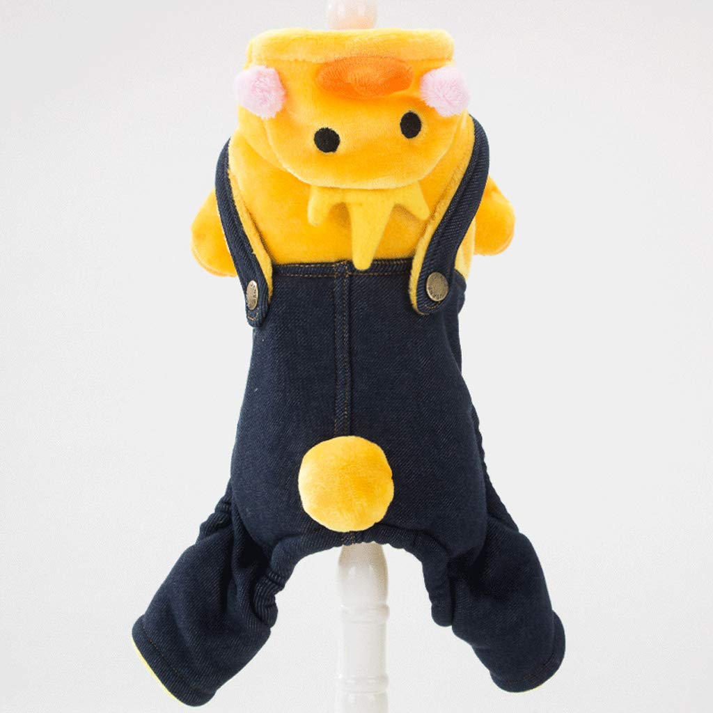 X-Small CXQ Pet Small Dog Clothes Funny Cute Yellow Duckling Four-Legged Clothes Autumn Winter Thickening to Keep Warm (Size   XS)