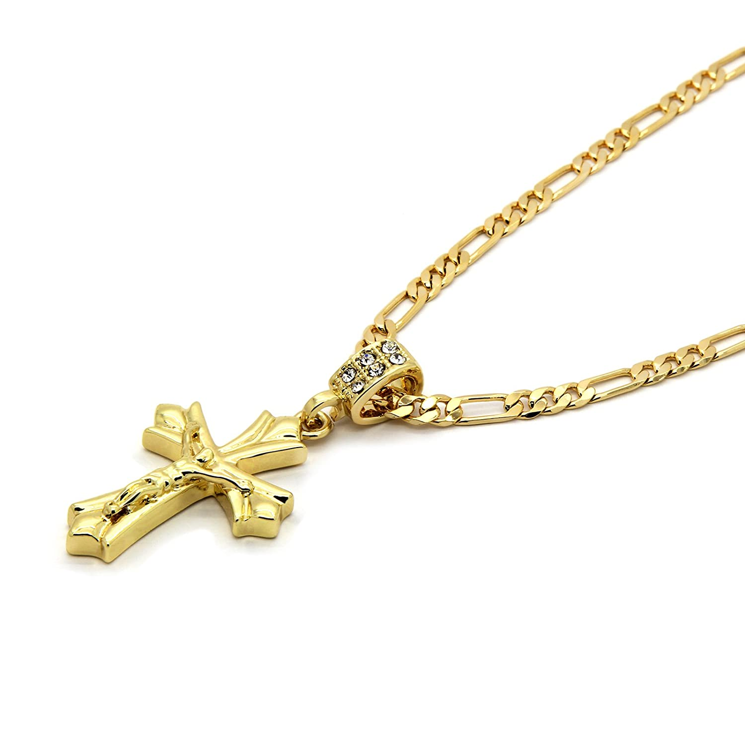 Gold Tone Patonce Cross Pendant Hip-hop 4mm 24