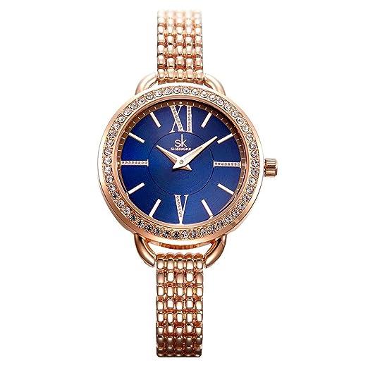 87054cfc7fbe SHENGKE Relojes de Mujer Banda de Cuero Relojes de Cuarzo de Lujo Vestido para  Mujer Reloj de Pulsera  Amazon.es  Relojes