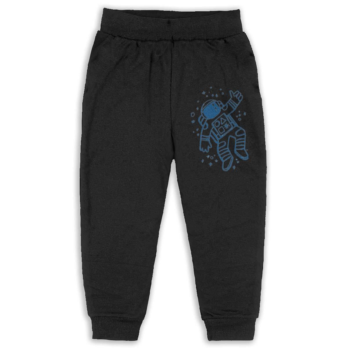 LFCLOSET Astronaut Outer Space Illustration Children Active Jogger Sweatpants Basic Elastic Sport Pants Gray