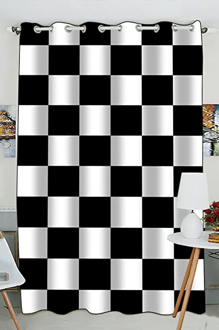 Custom Checkered Window CurtainBlack White Pattern Grommet Blackout Curtain Room Darkening Curtains Bedroom