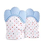2 Pack Baby Teething Mittens Self Soothing Pain Relief Mitt, Stimulating Teether Toy, Prevent Scratches Protection Glove…