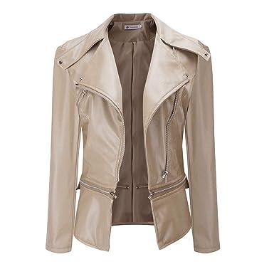 40b368879d ZEZKT Gilets Femme Blousons Unisexe Manteau Grande Taille Faux Veste en Cuir  Outwear Sport Cardigan Élégant