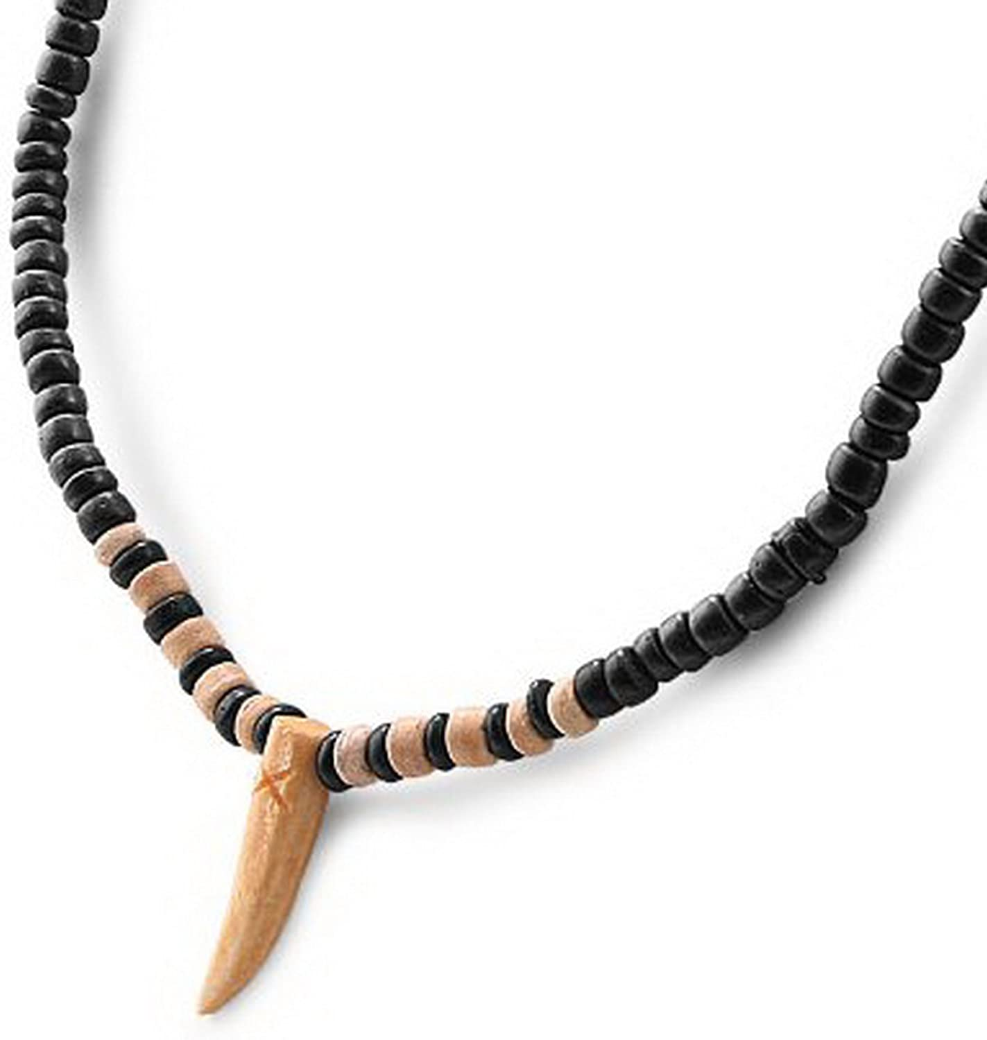 "JewelryVolt FN-5722 Organic Wooden Necklace w/ 17.5"" Black & Brown Beaded Chain - Shark Tooth"