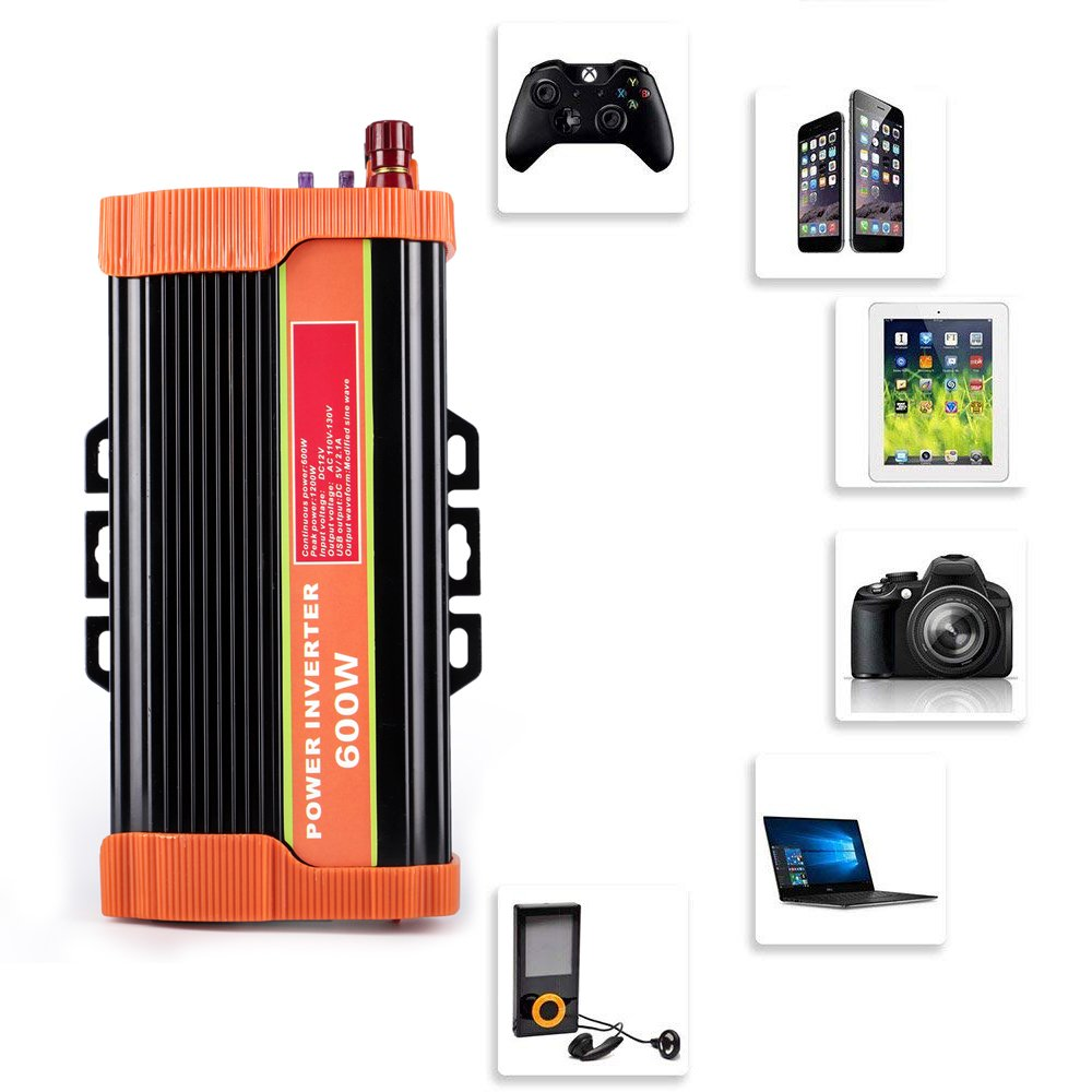 soyond 600W Car Power Inverter Converter DC 12V to 110V/120V AC with 2.1A Dual USB Car Charger Adapter by soyond (Image #6)