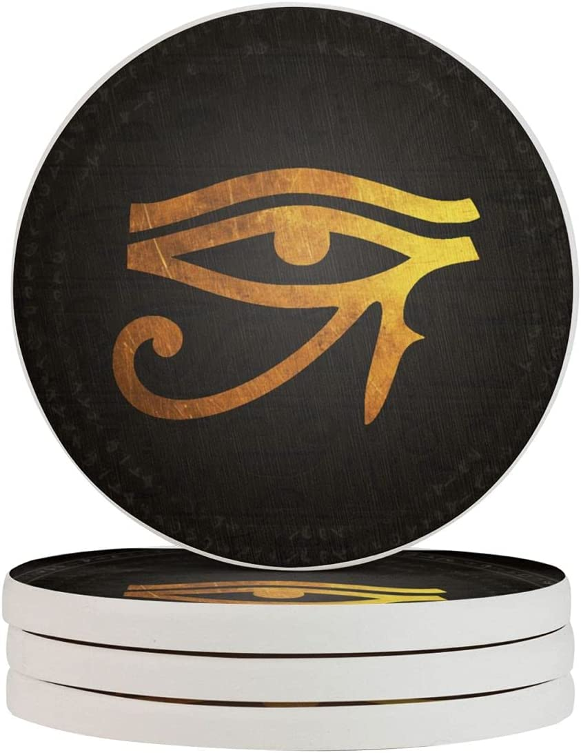 Eye of Horus Pattern Funny Coasters, Multi-Purpose Diatomite Coasters, Protect Furniture from Water Marks Scratch and Damage(1pcs-6pcs)
