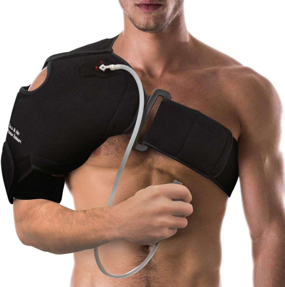 NatraCure Hot/Cold & Compression Shoulder Support 6032 - (Left/Right Reusable Shoulder Brace Wrap with Straps) - Ice Pack, Heating Pad for Sprains, Strains, Injuries and Post Rotator Cuff Surgery