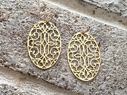 Coral Filigree Earrings - Gold Filigree Drop Earrings, Gold Earrings, Gold Filigree, Oval Earrings, Filigree Jewelry, Boutique Earrings, Cutout Earrings