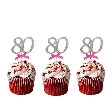 LissieLou Número 80 cumpleaños Cupcake Toppers - Pack de 10 ...