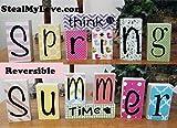 Think Spring - Summer Time: DIY Unfinished Wood, Vinyl & Paper Spring and Summer Letters Decoration Kit- Reversible Blocks Letters