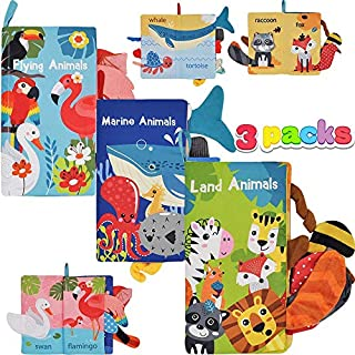JOYIN 3 Packs Soft Baby Cloth Books Touch and Feel for Babies Crinkle Books Infants & Toddler Early Development Interactive Toys, Baby Girl & Baby Boy Gift