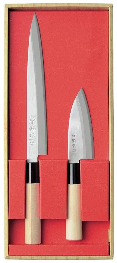 SekiRyu SR800 - Juego de 3 cuchillos japoneses y piedra china para afilar cuchillos