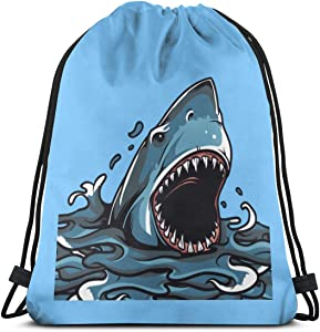 Angry Shark Portable Bag Classic Drawstring Knapsack
