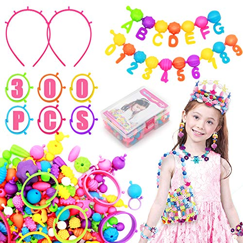 Kids Jewelry Making Kit - (300+ PCS) Pop Beads Set Educational Arts and Crafts Toys Gifts for Girls Age 4, 5, 6, 7, 8 Year, Necklace and Bracelet and Ring Creativity DIY Set