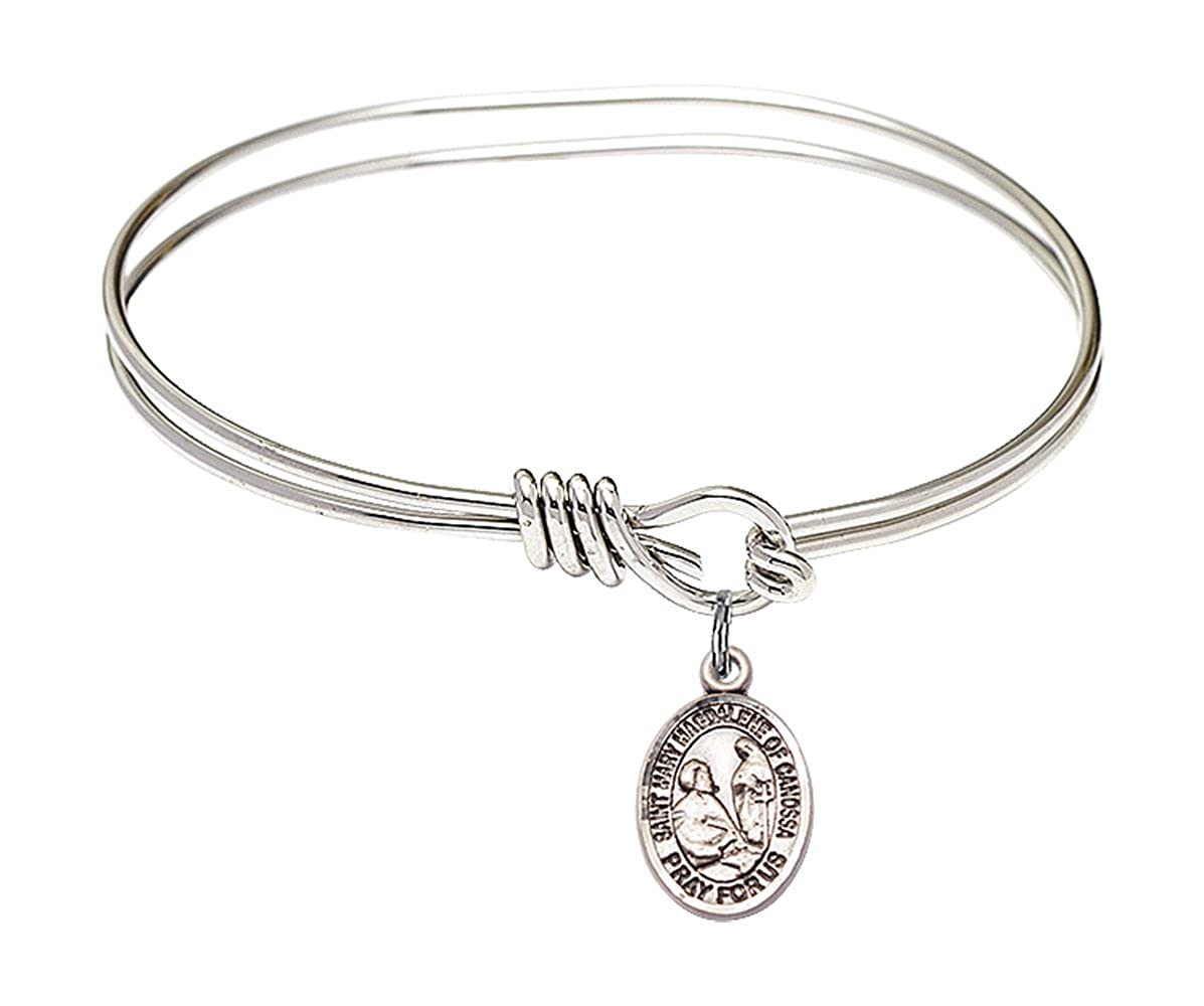 Mary Magdalene of Canossa charm. 5 3//4 inch Oval Eye Hook Bangle Bracelet with a St