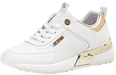 White ShoesAmazon Gold co Marlyn Trainers Guess Leather Womens uk b7yIfgY6v
